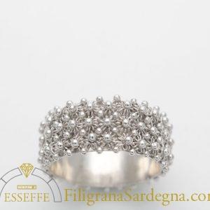 Anello a nido d'ape (3 file) in argento fede sarda filigrana