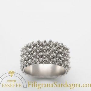 Anello a nido d'ape (4 file) fede sarda in filigrana argento