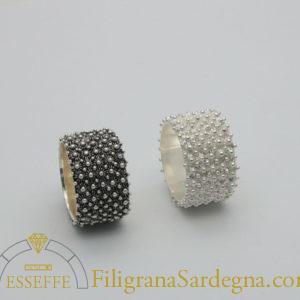 Anello a nido d'ape (5 file) in argento fede sarda