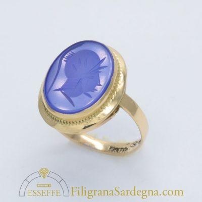 Anello con agata blu
