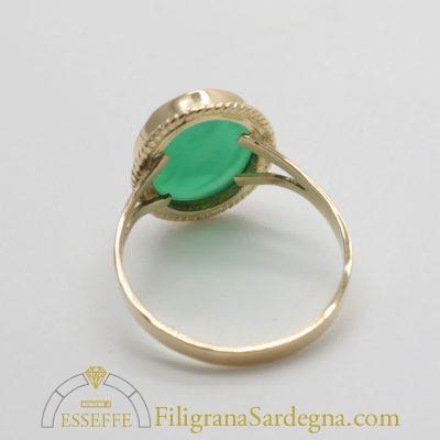 Anello con corniola verde
