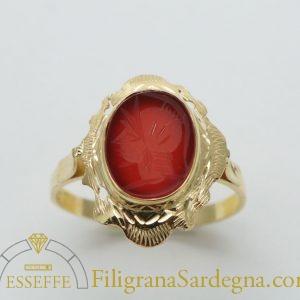 Anello corniola rossa piccola filigrana