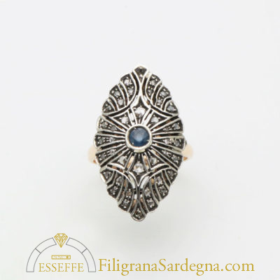 Anello di gioielleria borbonica con zaffiri e diamanti