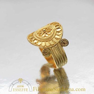 Anello fenicio punico in filigrana d'oro