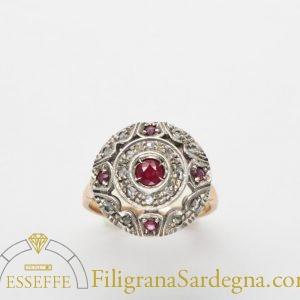 Anello gioielleria borbonica con rubini e diamanti
