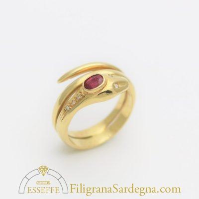 Anello in oro a serpentina con rubino e diamantini