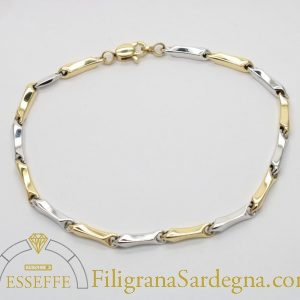 Bracciale con maglie in oro giallo e bianco