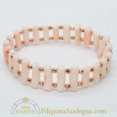 Bracciale con rametti di corallo rosa