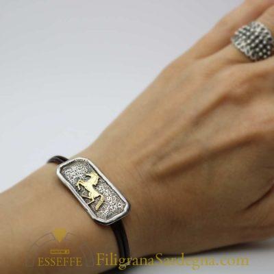 Bracciale in argento con cavallo d'oro o argento