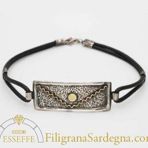 Bracciale in argento e oro con sole che sorge