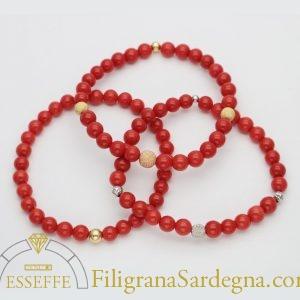 Bracciale in corallo rosso da 6mm