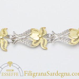 Bracciale in filigrana con elementi dorati