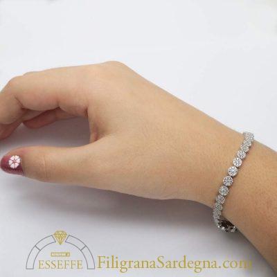 Bracciale in oro bianco con zirconi