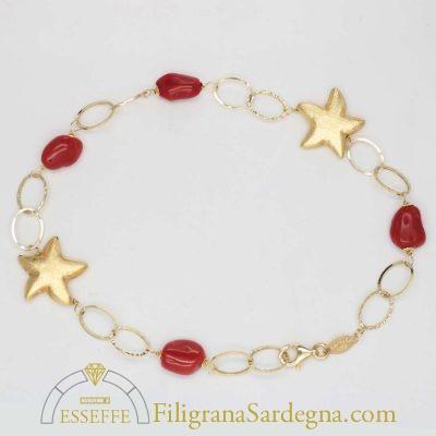 Bracciale in oro con sassi di corallo rosso Sardegna