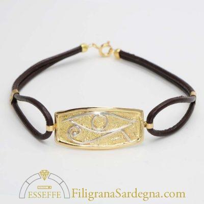 Bracciale in pelle con lastra in oro e occhio di Horus