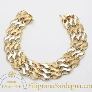 Bracciale morbido in oro giallo e bianco