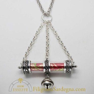 Ciondolo amuleto in argento con broccato
