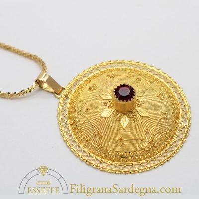 Ciondolo bottone sardo in filigrana d'oro