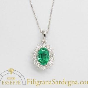 Ciondolo con diamanti e smeraldo