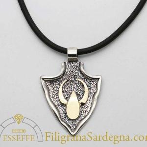 Ciondolo in argento con simbolo in oro