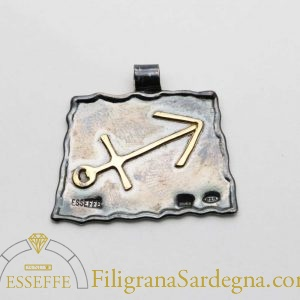 Ciondolo in argento e oro con segno zodialcale sagittario