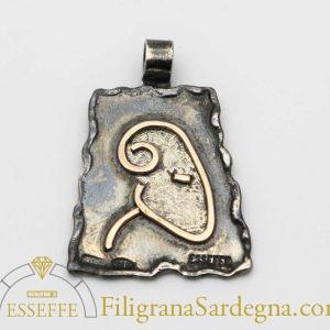 Ciondolo in argento e oro segno zodiacale ariete