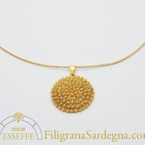 Ciondolo in oro filigrana e nido d'ape