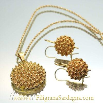 Corbule in filigrana d'oro 7 mm di diametro