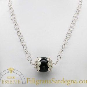 Cocco con coppette in filigrana d'argento e collana