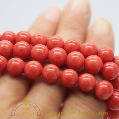 Collana con corallo 1° scelta extra da 8 mm