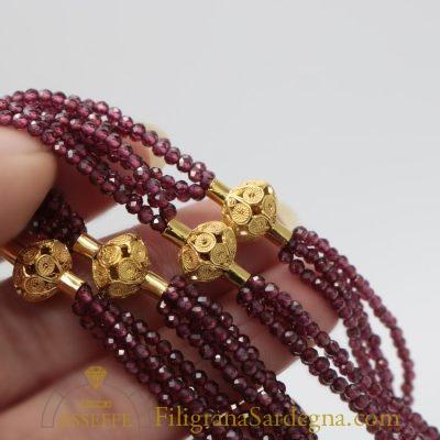 Collana con vaghi in filigrana d'oro