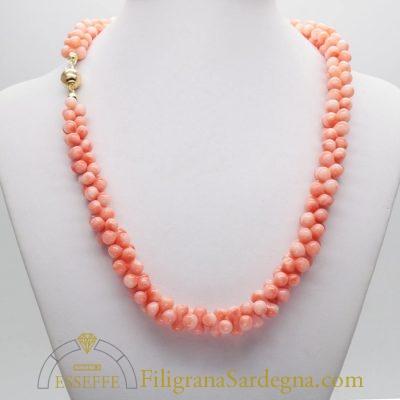 Collana di corallo rosa a taglio doppio