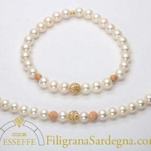 Collana di perle con intercalari in parure