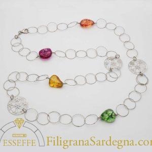 Collana in argento con agata e intercalari in argento