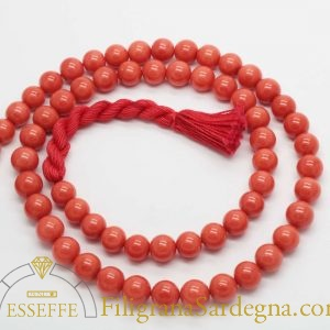 Collana in corallo rosso salmone 8 mm 1°scelta extra