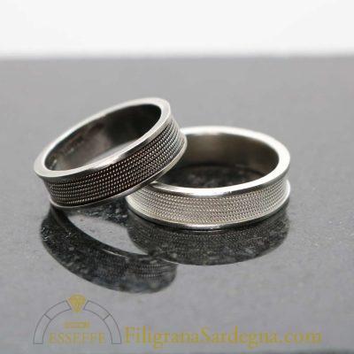Coppia fedi in argento realizzate a mano con filigrana a tutto giro
