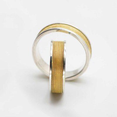 Coppia fedi in argento realizzate a mano con filigrana a tutto giro - Coppia filigrana oro