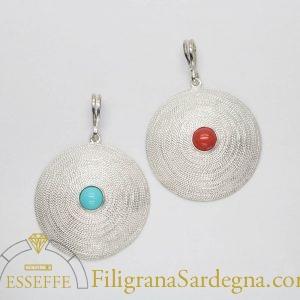 Corbula in argento con turchese o corallo