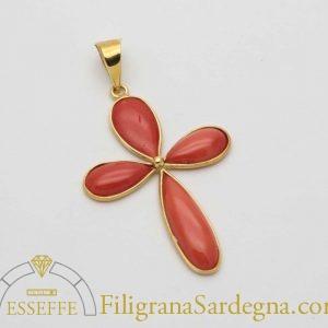 Croce in oro e corallo
