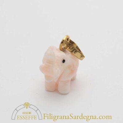 Elefantino in corallo rosa