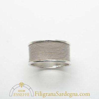 Fede sarda in argento con filigrana a tutto giro fascia alta