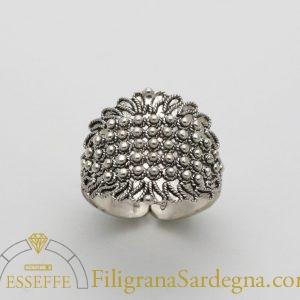 Fede sarda classica a una fila in argento in filigrana