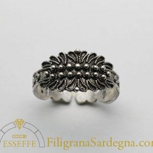 Fede sarda classica a due file in argento filigrana