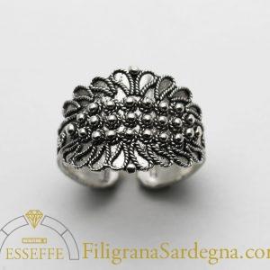 Fede sarda classica a tre file in argento filigrana
