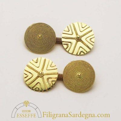 Gemelli in oro con pintadera e corbula filigrana