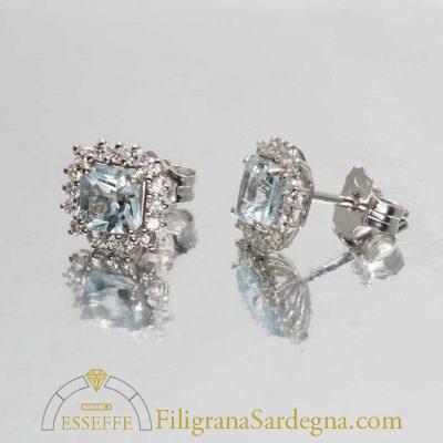 Orecchini con acquamarina e diamanti