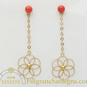 Orecchini con fiore di filigrana e corallo 1