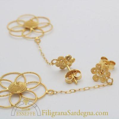 Orecchini con fiore e corbula in filigrana