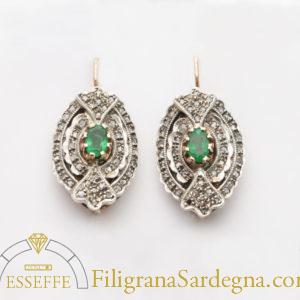 Orecchini di gioielleria borbonica con smeraldi e diamanti