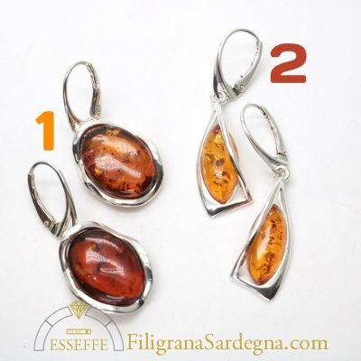 Orecchini in argento con ambra naturale